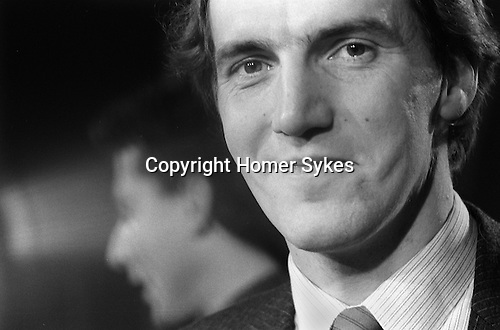 Simon Hughes, Bermondsey by-election South London 1983, he has just won. Peter Tatchell out of focus in background. ..