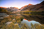 Reflection in North Lake at sunrise with fall colors