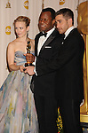 HOLLYWOOD, CA. - March 07: Writer Geoffrey Fletcher (C) with presenters Rachel McAdams (L) and Jake Gyllenhaal (R) pose in the press room at the 82nd Annual Academy Awards held at the Kodak Theatre on March 7, 2010 in Hollywood, California.