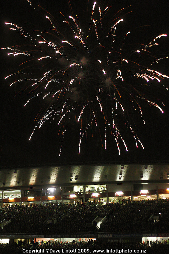 Fireworks go off above Waikato Stadium during the Investec Tri-Nations rugby match between the NZ All Blacks and South African Springboks at Waikato Stadium, Hamilton, New Zealand on Saturday 12 September 2009. Photo: Dave Lintott / lintottphoto.co.nz
