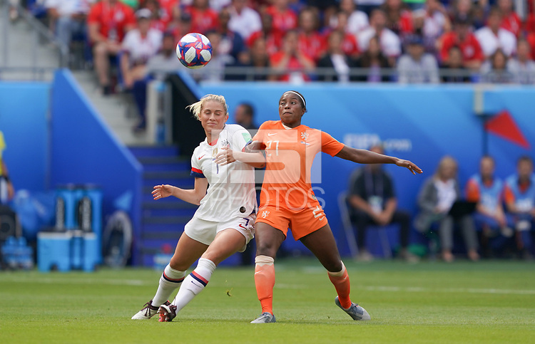 DECINES-CHARPIEU, FRANCE - JULY 07: Abby Dahlkemper #7, Lineth Beerensteyn #21 during the 2019 FIFA Women's World Cup France Final match between Netherlands and the United States at Groupama Stadium on July 07, 2019 in Decines-Charpieu, France.