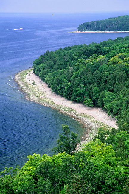 "The shoreline of Green Bay forms a perfect ""S"" Curve in Peninsula State Park in Door County, Wisconsin."