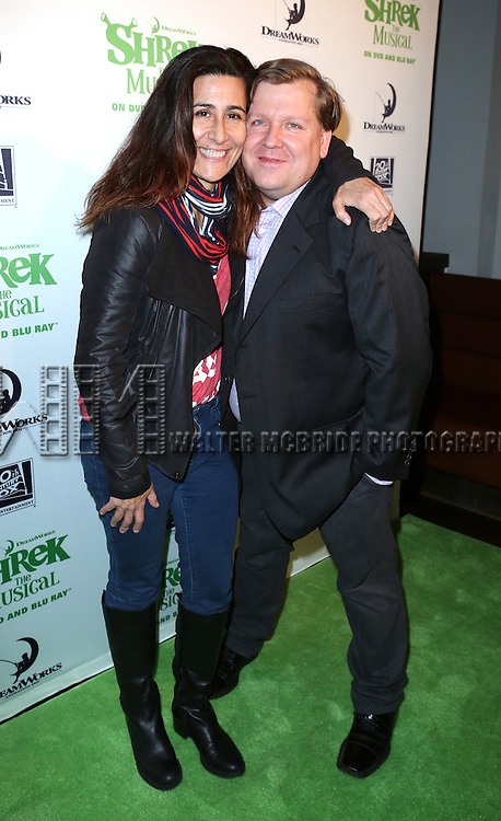 Jeanine Tesori and David Lindsay-Abaire attend the release party for 'Shrek: The Musical' Blue-Ray and DVD at The Hudson Bond on October 15, 2013 in New York City.
