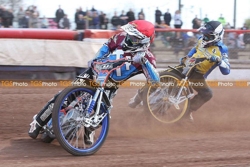 Heat 9: Lewis Bridger (tactical) and Davey Watt - Lakeside Hammers vs Eastbourne Eagles - Sky Sports Elite League Speedway at Arena Essex Raceway, Purfleet - 06/04/12 - MANDATORY CREDIT: Gavin Ellis/TGSPHOTO - Self billing applies where appropriate - 0845 094 6026 - contact@tgsphoto.co.uk - NO UNPAID USE.