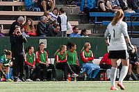 Seattle, WA - Sunday, May 22, 2016: Chicago Red Stars head coach Rory Dames directs Chicago Red Stars goalkeeper Alyssa Naeher (1) during a regular season National Women's Soccer League (NWSL) match at Memorial Stadium. Chicago Red Stars won 2-1.