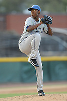 Asheville Tourists Edwar Cabrera #16 delivers a pitch during a game vs. the Hickory Crawdads at L.P. Franz Stadium in Hickory,  North Carolina;  April 7, 2011.  Hickory defeated Asheville 4-2.  Photo By Tony Farlow/Four Seam Images