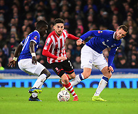 Lincoln City's Tom Pett gets between Everton's Idrissa Gueye, left, and Gylfi Sigur_sson<br /> <br /> Photographer Andrew Vaughan/CameraSport<br /> <br /> Emirates FA Cup Third Round - Everton v Lincoln City - Saturday 5th January 2019 - Goodison Park - Liverpool<br />  <br /> World Copyright &copy; 2019 CameraSport. All rights reserved. 43 Linden Ave. Countesthorpe. Leicester. England. LE8 5PG - Tel: +44 (0) 116 277 4147 - admin@camerasport.com - www.camerasport.com