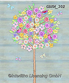 Kate, FLOWERS, BLUMEN, FLORES, paintings+++++Floral tree 1,GBKM302,#f#, EVERYDAY