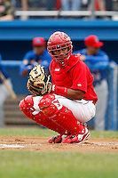 June 21, 2009:  Luis De La Cruz of the Batavia Muckdogs looks to the bench during a game at Dwyer Stadium in Batavia, NY.  The Muckdogs are the NY-Penn League Short-Season Class-A affiliate of the St. Louis Cardinals.  Photo by:  Mike Janes/Four Seam Images
