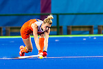 Willemijn Bos #7 of Netherlands passes during Netherlands vs Korea in a Pool A game at the Rio 2016 Olympics at the Olympic Hockey Centre in Rio de Janeiro, Brazil.