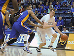 January 2, 2016 - Colorado Springs, Colorado, U.S. -  Air Force center, Zach Moer #41, drives past San Jose State defenders during an NCAA basketball game between the San Jose State Spartans and the Air Force Academy Falcons at Clune Arena, U.S. Air Force Academy, Colorado Springs, Colorado.  Air Force defeats San Jose State 64-57.