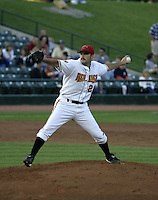 August 19, 2004:  Pitcher Dave Gassner of the Rochester Red Wings, Triple-A International League affiliate of the Minnesota Twins, during a game at Frontier Field in Rochester, NY.  Photo by:  Mike Janes/Four Seam Images