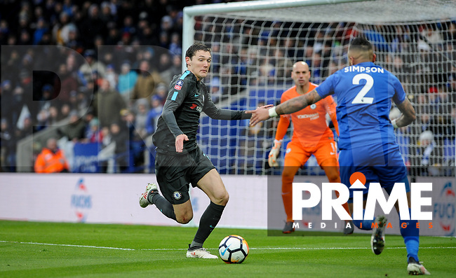 Andreas Christensen of Chelsea during the FA Cup QF match between Leicester City and Chelsea at the King Power Stadium, Leicester, England on 18 March 2018. Photo by Stephen Buckley / PRiME Media Images.