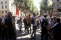 genova luglio 2001, proteste contro il g8. manifestanti alzano le mani dopo una carica della polizia --- genoa july 2001, protests against g8 summit. demonstrators raise hands after a charge of the police