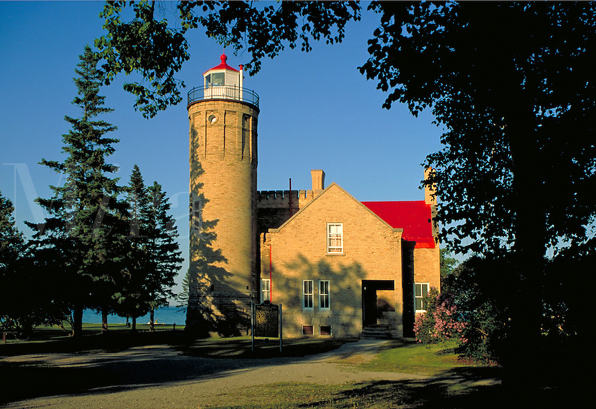 Lighthouse overlooking Straits of Mackinac, lighthouses. Mackinaw City Michigan USA.