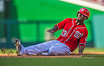 8 June 2013: Washington Nationals outfielder Roger Bernadina slides safely into 3rd on a tag-up play against the Minnesota Twins at Nationals Park in Washington, DC. The Twins edged out the Nationals 4-3 in 11 innings. Mandatory Credit: Ed Wolfstein Photo *** RAW (NEF) Image File Available ***