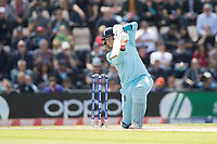Joe Root (England) drives through the covers for four and holds the shot during England vs West Indies, ICC World Cup Cricket at the Hampshire Bowl on 14th June 2019