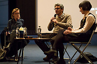 """(From L To R) Clare Longrigg, Pif & the interpreter. <br /> <br /> London, 25/03/2017. Today, CinemaItaliauk held the premiere of the Italian movie """"In Guerra Per Amore"""" (At War With Love) at the Genesis Cinema in London's Whitechapel (On London's 11 Best Independent Cinemas list). Special guest of the event was the Director and main actor of the movie Pif (Aka Pierfrancesco Diliberto, Italian television host and film director and actor and writer) who held a Q&A with Clare Longrigg, deputy Editor of the Guardian. After the success with """"The Mafia Kills Only in Summer"""" (2013), Pif is back with a love comedy based on true facts in which the Sicilian Director shows the agreement, made during World War II between the US Army and the Sicilian mafia, to invade and occupy Sicily without provoking any trouble, re-establishing the criminal power of """"Cosa Nostra"""" on the Italian southern island. <br /> <br /> For more information please click here: http://www.imdb.com/title/tt5263116/ & https://www.facebook.com/events/237675699972952/ & https://www.facebook.com/CinemaItaliaUk/"""