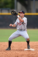 GCL Braves second baseman Luke Dykstra (5) waits for a throw during the second game of a doubleheader against the GCL Yankees 1 on July 1, 2014 at the Yankees Minor League Complex in Tampa, Florida.  GCL Braves defeated the GCL Yankees 1 by a score of 3-1.  (Mike Janes/Four Seam Images)
