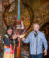 LAS VEGAS, NV - January 16 : Carlos Santana and Paul Reed Smith  pictured as House of Blues Las Vegas unveils 13-foot high guitar sculpture ?Wings of Legend? that will commemorate the return of Carlos Santana's residency: An Intimate Evening with Santana: Greatest Hits Live - Yesterday, Today & Tomorrow and continue the 20th Anniversary celebration of the House of Blues brand at House of Blues at Mandalay Bay in Las Vegas, Nevada on January 16, 2013. Credit: Kabik/Starlitepics/MediaPunch Inc. ***HOUSE COVERAGE*** /NortePhoto
