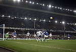 Home striker Romelu Lukaku (in blue) attacking a corner kick during the second-half at Goodison Park, Liverpool of the Premier League match between Everton and West Bromwich Albion. The match ended in a 0-0 draw, despite the home team missing a first-half penalty by Kevin Mirallas. The game was watched by 34,739 spectators and left both teams languishing near the relegation zone.