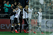 9th January 2018, Mestalla Stadium, Valencia, Spain; Copa del Rey football, round of 16, second leg, Valencia versus Las Palmas; Vietto (left), recently signed striker from Argentina for Valencia CF, celebrates his goal with the rest of the team
