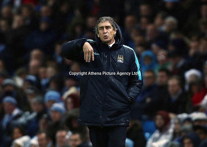 Manchester City manager Manuel Pellegrini during the Barclays Premier League match between Manchester City and Swansea City played at the Etihad Stadium, Manchester on December 12th 2015
