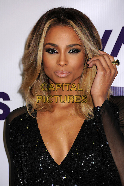 Ciara (Ciara Princess Harris).VH1 Divas 2012 held at The Shrine Auditorium, Los Angeles, California, USA..December 16th, 2012.headshot portrait sequins sequined low cut v-neck black hand arm  .CAP/ADM/BP.©Byron Purvis/AdMedia/Capital Pictures.