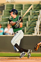 Brett Krill #10 of the Augusta GreenJackets follows through on his swing against the Kannapolis Intimidators at CMC-Northeast Stadium on May 2, 2012 in Kannapolis, North Carolina.  The GreenJackets defeated the Intimidators 9-6.  (Brian Westerholt/Four Seam Images)