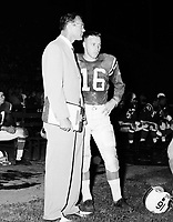 Frank Clair Ottawa Rough Riders head coach with Ron Lancaster 1960. Copyright photograph Ted Grant/