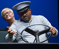 NWA Democrat-Gazette/ANDY SHUPE<br /> Actors Actors Vickie Hilliard (left), playing the part of Daisy Werthan, and Ralph Sweatte, playing the part of Hoke Colburn, speak Tuesday, March 6, 2018, during rehearsal for &quot;Driving Miss Daisy&quot; at the Arts Center of the Ozarks in Springdale. The production runs March 9-11 and 16-18.