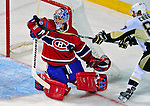 3 February 2009: Montreal Canadiens' goaltender Carey Price makes a save during the first period against the Pittsburgh Penguins at the Bell Centre in Montreal, Quebec, Canada. The Canadiens defeated the Penguins 4-2. ***** Editorial Sales Only ***** Mandatory Photo Credit: Ed Wolfstein Photo