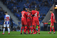 27th February 2020; Dragao Stadium, Porto, Portugal; UEFA Europa League  FC Porto versus Bayer Leverkusen; Players of Bayer Leverkusen celebrate the scored goal by Lucas Alario in the 10th minute for 1-0