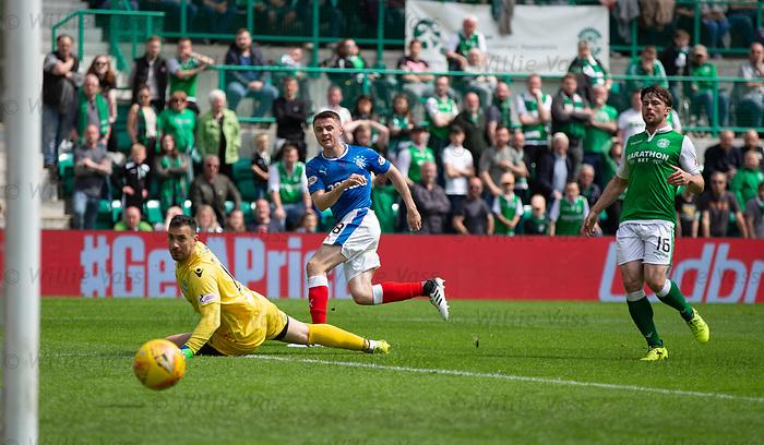 13.05.2018 Hibs v Rangers: Jordan Rossiter beats Ofir Marciano for Rangers second goal