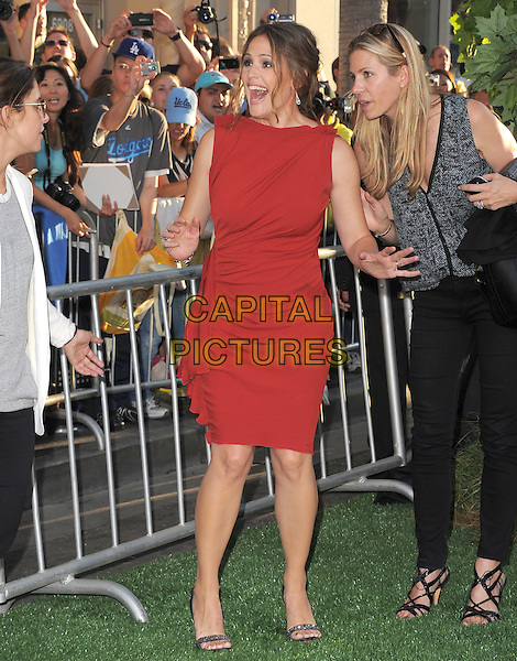 Jennifer Garner Affleck.The World Premiere 'The Odd Life of Timothy Green' held at The El Capitan Theatre in Hollywood, California, USA..August 6th, 2012.full length dress hands arms mouth open funny red sleeveless  .CAP/RKE/DVS.©DVS/RockinExposures/Capital Pictures.