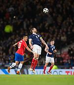 23rd March 2018, Hampden Park, Glasgow, Scotland; International Football Friendly, Scotland versus Costa Rica; Charlie Mulgrew of Scotland heads clear from David Guzman of Costa Rica