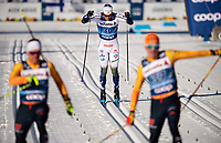 1st January 2020, Toblach, South Tyrol , Italy;  Karl-Johan Westberg of Sweden finishes in the mens 15 km classic technique pursuit during Tour de Ski on January 1, 2020 in Toblach.