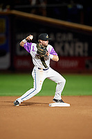 "Akron RubberDucks second baseman Connor Smith (16) throws to first base during an Eastern League game against the Erie SeaWolves on August 30, 2019 at Canal Park in Akron, Ohio.  Akron wore special jerseys with the slogan ""Fight Like a Kid"" during the game for Akron Children's Hospital Home Run for Life event, the design was created by 11 year old Macy Carmichael.  Erie defeated Akron 3-2.  (Mike Janes/Four Seam Images)"