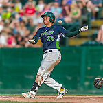 12 July 2015: Vermont Lake Monsters catcher Seong-min Kim fouls one off against the West Virginia Black Bears at Centennial Field in Burlington, Vermont. The Lake Monsters came back from a 4-0 deficit to defeat the Black Bears 5-4 in NY Penn League action. Mandatory Credit: Ed Wolfstein Photo *** RAW Image File Available ****