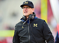 College Park, MD - NOV 11, 2017: Michigan Wolverines head coach Jim Harbaugh on the sideline during game between Maryland and Michigan at Capital One Field at Maryland Stadium in College Park, MD. (Photo by Phil Peters/Media Images International)
