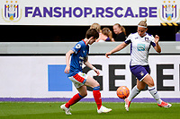 20190813 - ANDERLECHT, BELGIUM : Linfield's Kirsty McGuinness (11 - left) and Anderlecht's Jana Coryn (9 - right) pictured during the female soccer game between the Belgian RSCA Ladies – Royal Sporting Club Anderlecht Dames and the Northern Irish Linfield ladies FC , the third and final game for both teams in the Uefa Womens Champions League Qualifying round in group 8 , Tuesday 13 th August 2019 at the Lotto Park Stadium in Anderlecht , Belgium  .  PHOTO SPORTPIX.BE   STIJN AUDOOREN