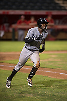 Center fielder Luis Robert (15), on rehab assignment with the AZL White Sox, hustles down the first base line during an Arizona League game against the AZL Angels at Tempe Diablo Stadium on August 3, 2018 in Tempe, Arizona. The AZL White Sox defeated the AZL Angels 6-4. (Zachary Lucy/Four Seam Images)