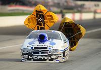 Sept. 1, 2012; Claremont, IN, USA: NHRA pro stock driver Allen Jonhson during qualifying for the US Nationals at Lucas Oil Raceway. Mandatory Credit: Mark J. Rebilas-