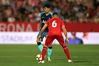 Son Heung-min of Tottenham and Alex Granell of Girona during Girona FC vs Tottenham Hotspur, Friendly Match Football at Estadi Montilivi on 4th August 2018