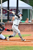Princeton Rays center fielder Grant Witherspoon (5) swings at a pitch during game two of the Appalachian League Championship Series against the Elizabethton Twins at Joe O'Brien Field on September 5, 2018 in Elizabethton, Tennessee. The Twins defeated the Rays 2-1 to win the Appalachian League Championship. (Tony Farlow/Four Seam Images)