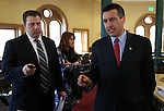 "Nevada Gov. Brian Sandoval talks after a Board of Examiners meeting at the Capitol in Carson City, Nev., on Tuesday, Feb. 12, 2013. Stewart ""Mac"" Bybee, Director of Public Relations & Community Affairs, is at left. .Photo by Cathleen Allison"