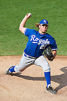 Jared Brasher #21 of Pell City High School in Pell City, Alabama playing for the Kansas City Royals scout team during the East Coast Pro Showcase at Alliance Bank Stadium on August 2, 2012 in Syracuse, New York.  (Mike Janes/Four Seam Images)
