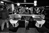 DAYTONA BEACH, FL - FEBRUARY 5: A night pit stop for the Jaguar XJR-5 008 driven by Bob Tullius, David Hobbs and Doc Bundy during the 24 Hours of Daytona on February 5, 1984, at the Daytona International Speedway in Daytona Beach, Florida.