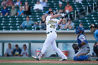 Mesa Solar Sox designated hitter Sheldon Neuse (20), of the Oakland Athletics organization, hits a two-run walk-off home run in front of catcher Josh Morgan (32) during an Arizona Fall League game against the Surprise Saguaros on November 2, 2017 at Sloan Park in Mesa, Arizona. The Solar Sox defeated the Saguaros 8-6. (Zachary Lucy/Four Seam Images)