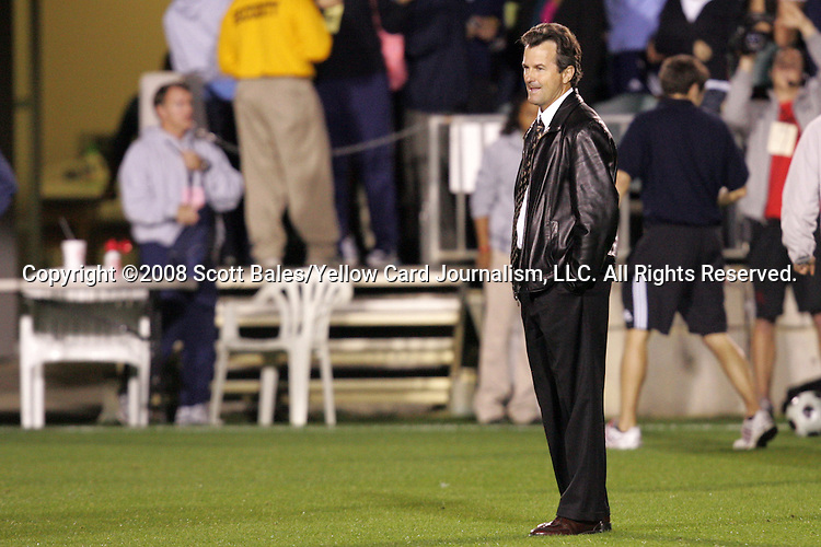 07 November 2008: North Carolina head coach Anson Dorrance. The University of North Carolina defeated Boston College 2-0  at WakeMed Stadium at WakeMed Soccer Park in Cary, NC in a women's ACC tournament semifinal game.